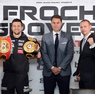Carl Froch, left, and George Groves, right, with boxing promoter Eddie Hearn