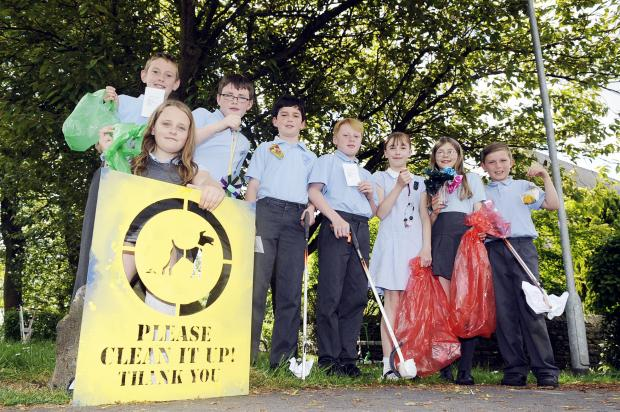 Clean-up children Elizabeth Broadhurst, Tom Duxbury, Harry Murphy, James White, Joshua Holden, Alice Hammond, Eloise Lonsdale and Rhys Singleton