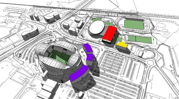 Middlebrook Masterplan development plans Key: purple — housing red — sports facilities yellow — education premises