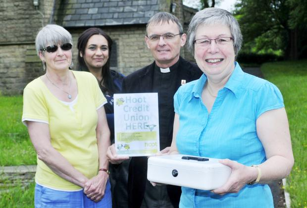 From left, Falak Arshad of Hoot, volunteer Chris Wallace, Rev Steve Whiting and volunteer Carol Atkinson