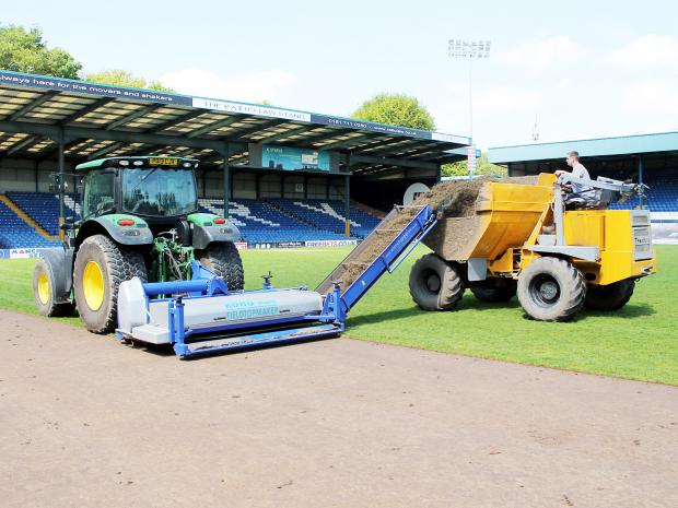 Work on the new pitch at JD Stadium, which was completed last week
