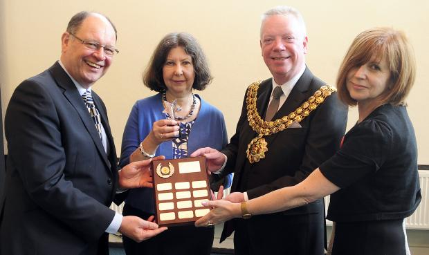 From left, Jim Battle, deputy police and crime commissioner, Theresa Newsham, the Mayor of Bolton Cllr Martin Donaghy and Rita Liddell, of BANDS