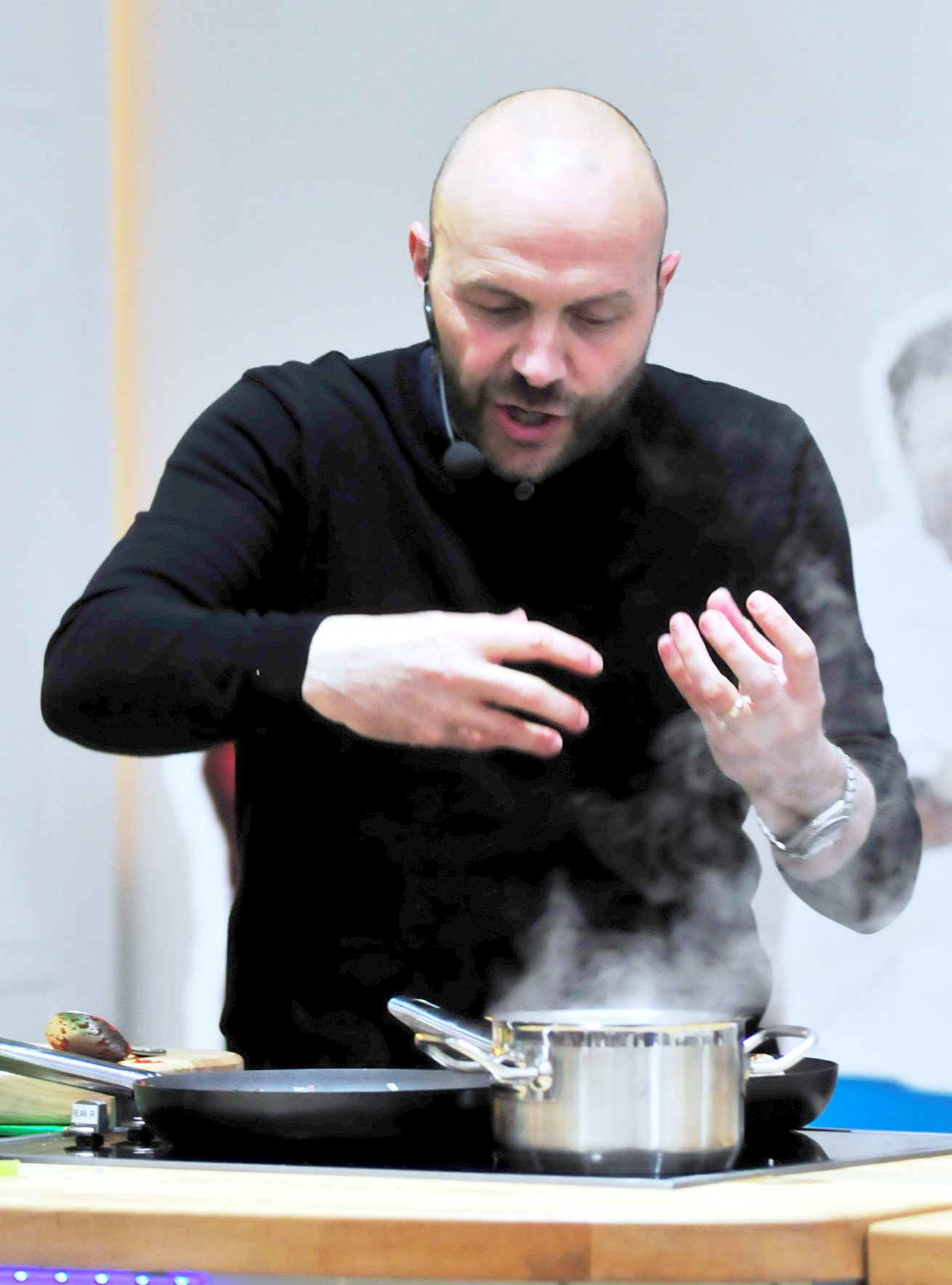 Cooking up a storm: Weather forces TV chef Simon Rimmer's demo undercover