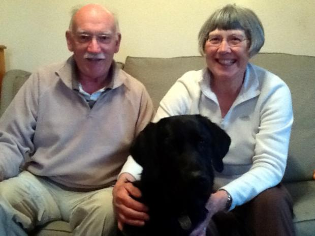 Peter and Rosemary Aldred with Nisa, their current guide dog in training.bmp