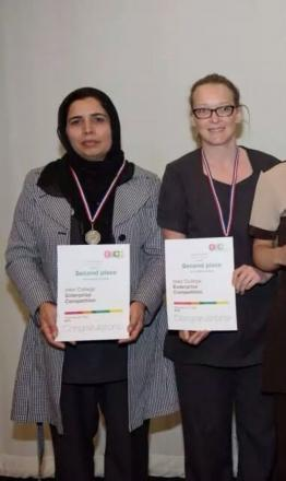 Runners up Alia Firdous and Anna Dykins