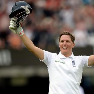 Gary Ballance salutes the crowd after reaching three figures