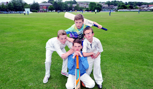 Jake Bracewell, top, with Niall, Brady and Patrick Boardman at Bacup Cricket Club