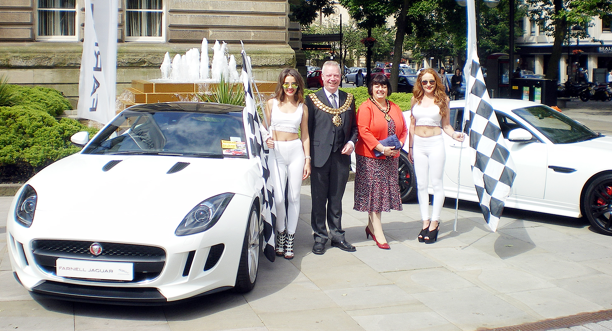 The Mayor and Mayoress of Bolton, Cllr Martin Donaghy and Gay Wharton, in Victoria Square for the motorsport festival