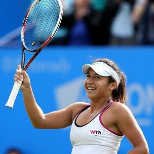 Heather Watson is through to the Aegon International quarter-finals in Eastbourne