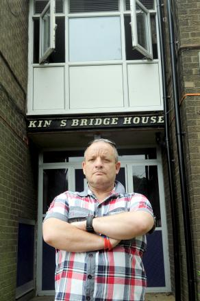 Tony Worthington outside the flat in Blackshaw Lane, Deane