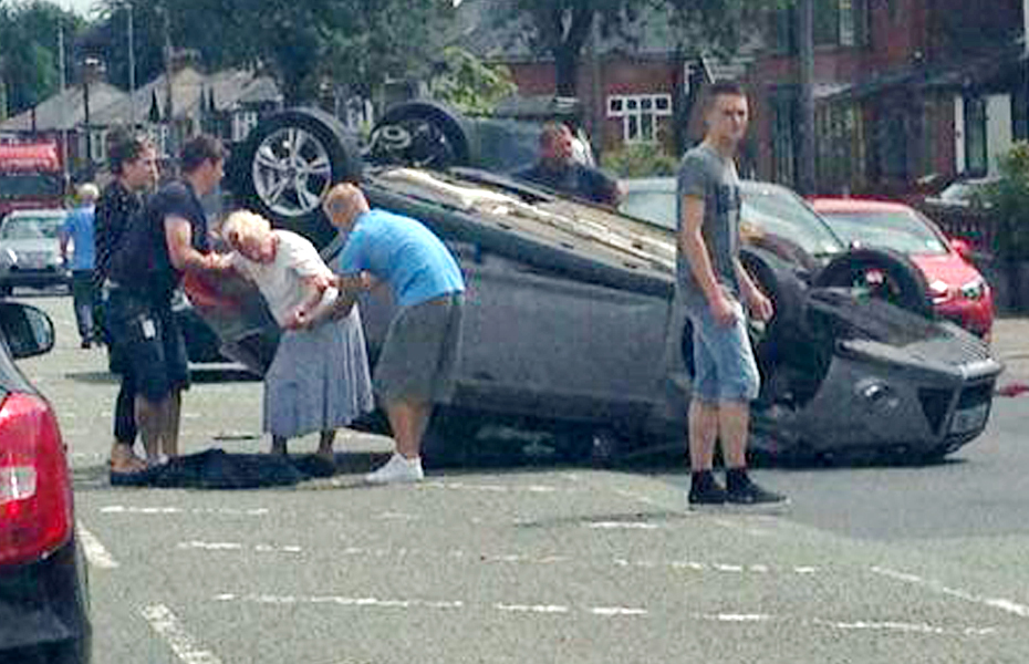 Elderly women escape with minor injuries after car overturns in Crompton Way