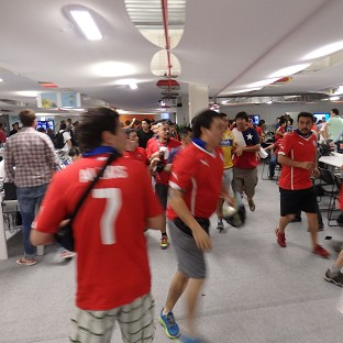 Chile fans gained access to the media room at the Estadio do Maracana