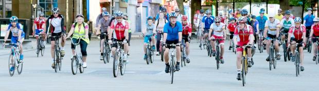 Cyclists hit the road for the five-mile ride to Middlebrook, as part of National Bike Week