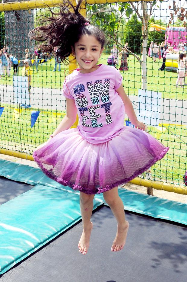 The Bolton News: Six-year-old Chaya Pandya jumps for joy