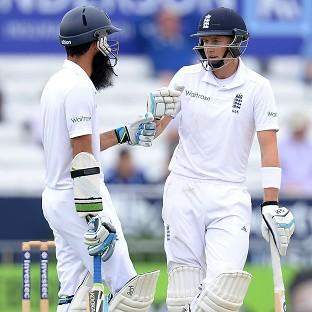 Moeen Ali, left, and Joe Root played conservatively to take the score to 83 for five at lunch
