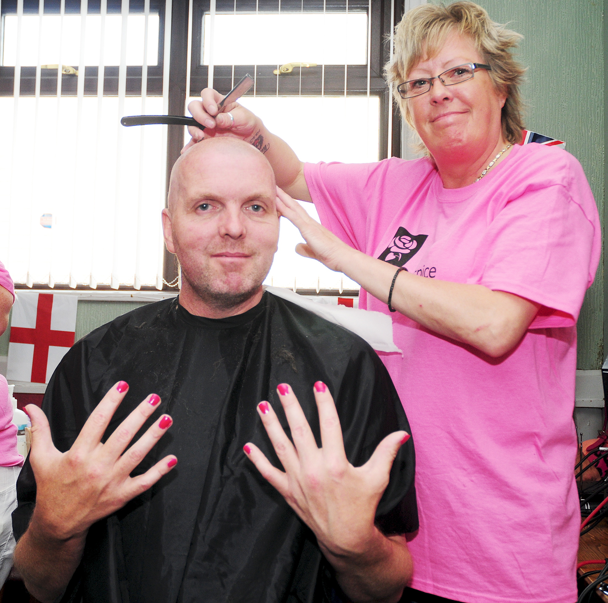 Men get nails done and heads shaved for Bolton Hospice