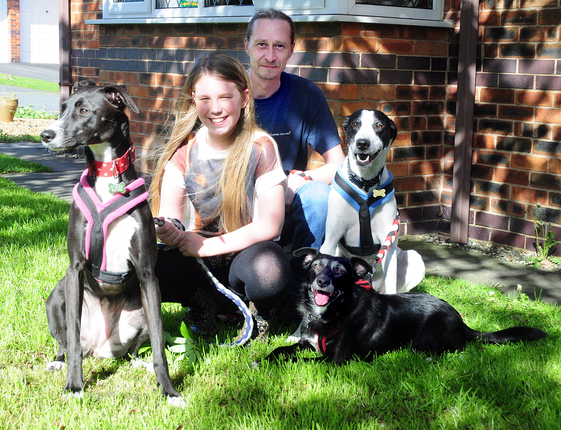 Dog lover Scarlett and dad Martin with rescue dogs Mini, Mercy and Bentley