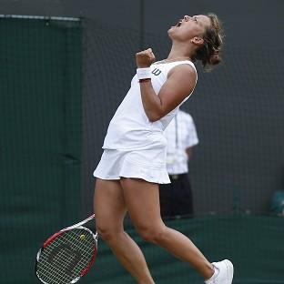 Barbora Zahlavova Strycova shows her delight after causing an upset