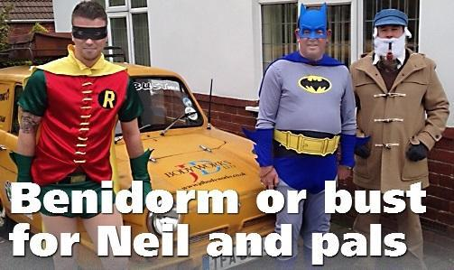 Neil Longworth, right, as Uncle Albert with friends Jamie Duffin and Ashley Poxson as Batman and Robin from an episode of Only Fools and Horses