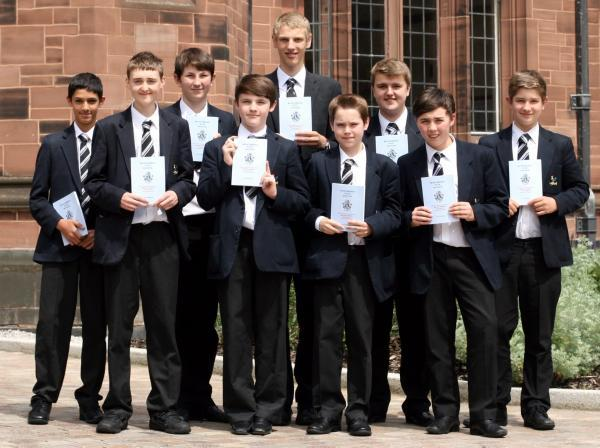 The Bolton News: From left, Jamie Fernandes and Steven Prescott, both aged 14, Joseph Sharples, aged 15, Cian McMahon, aged 14, Paul Greenhalgh, aged 17, David Meadows, aged 13, Matthew Taylor, aged 15, Luis Jones and Samuel Smethurst, both aged 14.