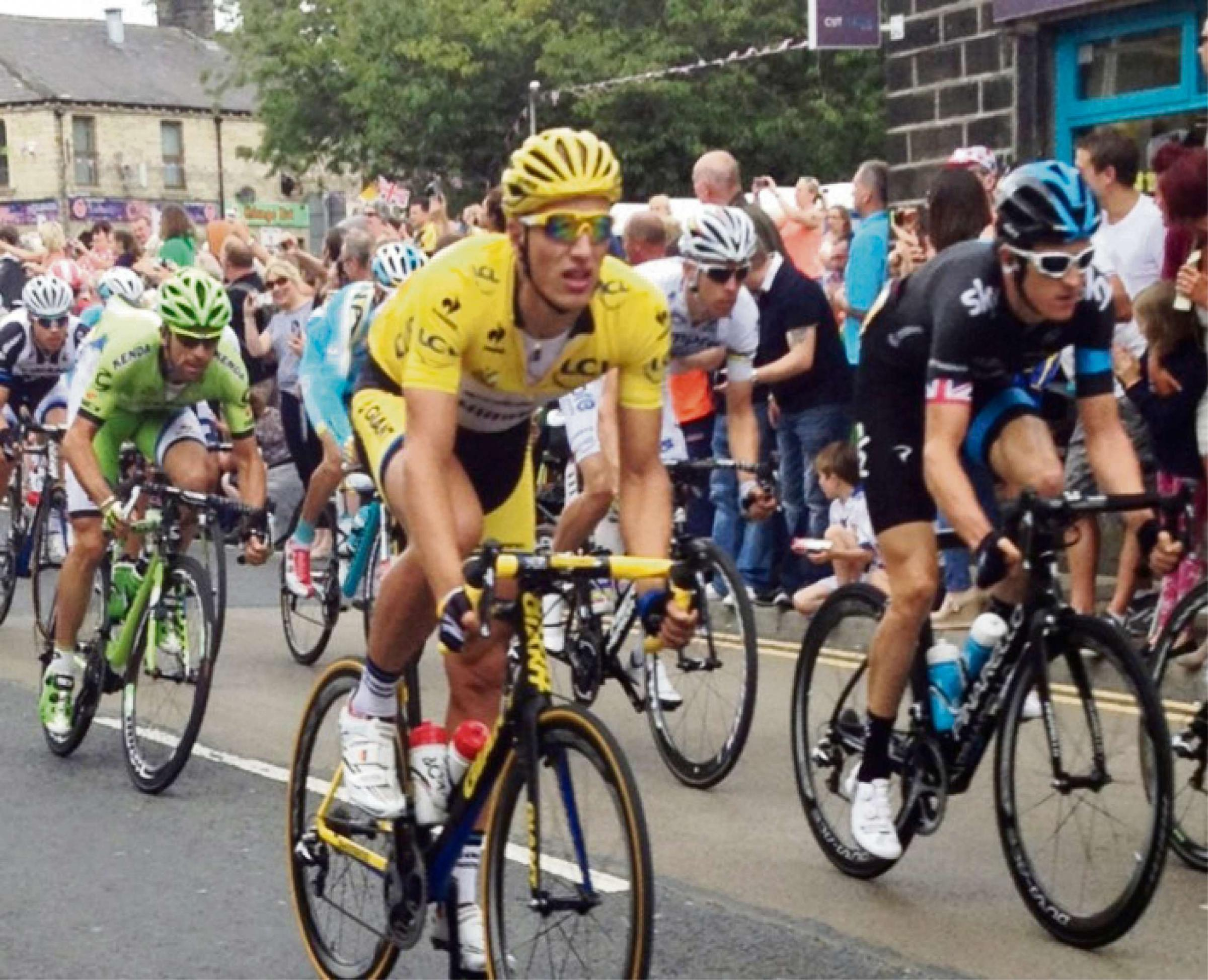 The actual Tour de France in Yorkshire. Farnworth cyclists are doing the