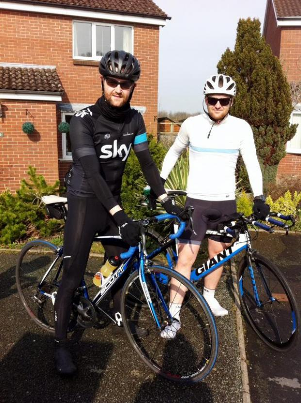 The Bolton News: David, left, and Rowan Ardill before one of their many training rides