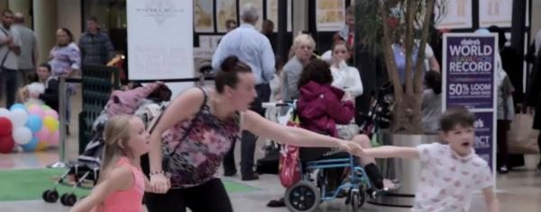 A scene from the flash mob in the Market Place. Watch the full video below.