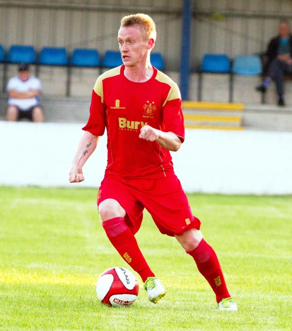 Ashley Grimes playing against Radcliffe Borough in pre-season