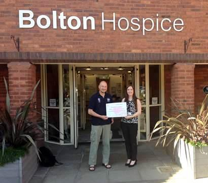 Organiser Pete Kobryn with Stephanie Lacaille of Bolton Hospice