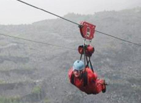 Kath Richardson on the zip wire in Snowdonia