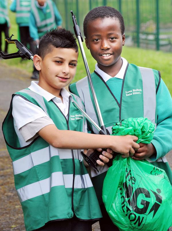 Children pick up litter in Big Bolton Tidy Up campaign