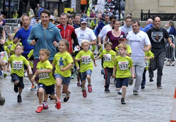 The kids and parents race in Victoria Square helped attract shoppers