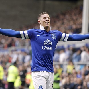 Everton's Ross Barkley celebrates scoring their first goal of the game