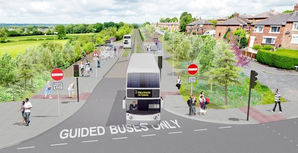 An artist's impression of the proposed guided busway that will link Bolton to Manchester and Leigh.