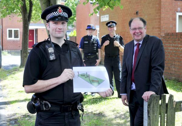 PC Ian Roby with a plan of the work. With him, from left, are PCSO Claire Lindop, Neigbourhood Inspector Chr