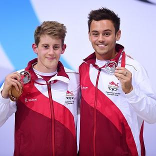 Tom Daley, right, pictured with team-mate James Denny, will bid for individual gold at the Commonwealth Games on Saturday