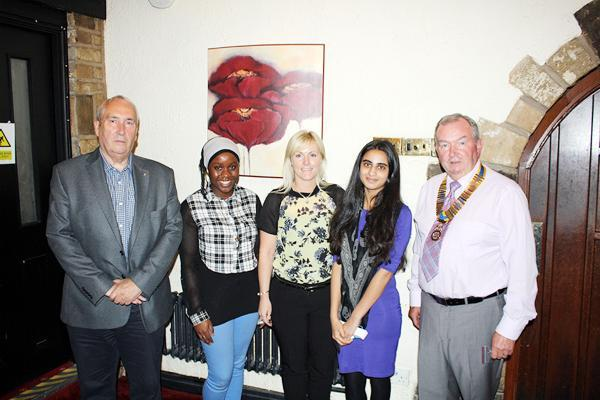 From left, Turton Rotary Club past president and organiser Jeff Todd, student Aliyyat Otulana, head of Year 10 at Sharples School Madeleine Moss, student Rosemean Patel and president David Biggar