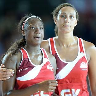 Kadeen Corbin, left, and Geva Mentor, right, take in England's narrow defeat