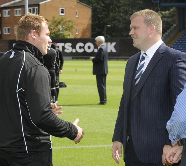Bury chairman Stewart Day, right, with club manager David Flitcroft