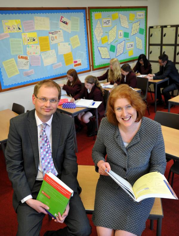 Bolton School Boys and Girls headteachers Philip Britton and Sue Hincks at one of the maths lessons