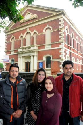 The  owners of Crystal Theatre, Function and Wedding Halls, from left, Mohamed Amjad Kulasi, Amna Pervez, Aysha Bapu and Aadil Razzaq, pictured after buying the former theatre church in 2012