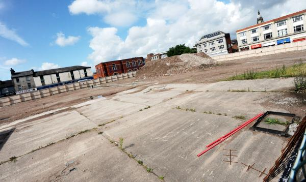 The cleared ground in Newport Street which will be the site of the Interchange
