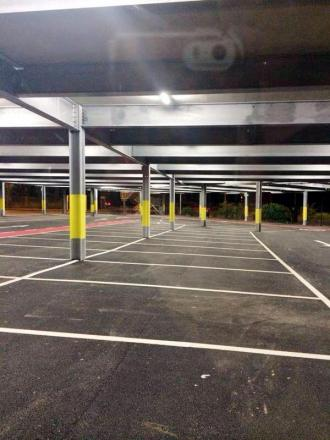Empty spaces in the lower deck of Radcliffe's newly-expanded Metrolink park and ride facility