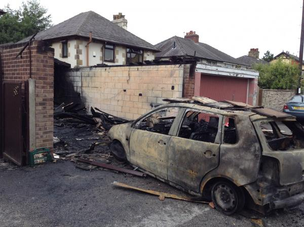 UPDATED: Car and garage destroyed in suspected arson attack in Bromley Cross