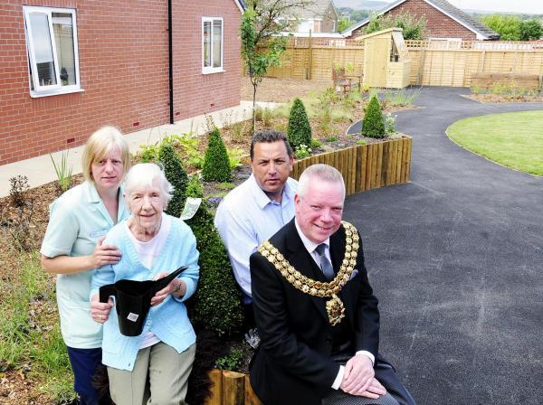 From left, Karen Dean, deputy manager at The Bakewells Care Home, resident Lilian Walsh, proprietor Andy Morgan and the Mayor of Bolton, Cllr Martin Donaghy