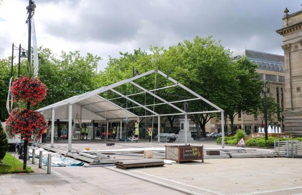 The main Bolton Food and Drink Festival marquee takes shape in Victoria Square