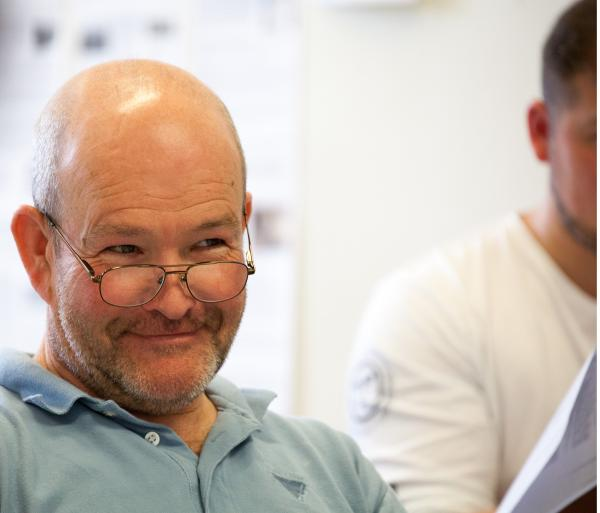 Richard Graham in rehearsals for Journey's End