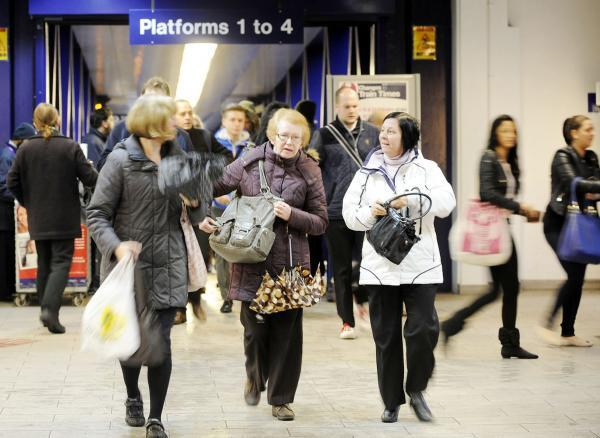 Commuters at Bolton station