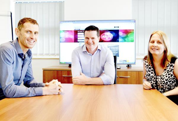 From left, Gary Flynn, founder and managing director of NetGiant, David Liggett, business development manager at TonerGiant, and director Joanne Flynn