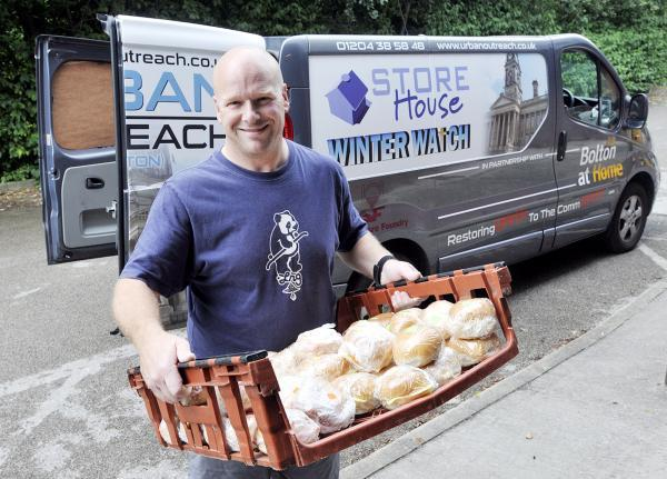 Rob Balfour, from Urban Outreach, ready to deliver some of the free packed lunches